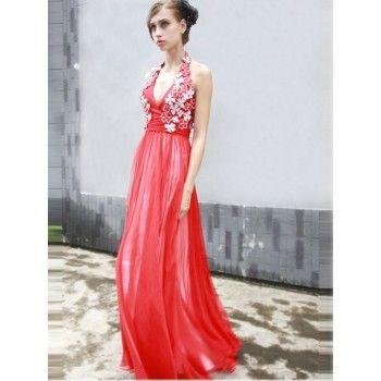 Ausgefallene Neckholder Abendkleider Rot lang   Kleider   Pinterest ...