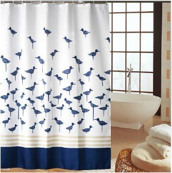 Buy Eforgift Printed Waterproof And Non Mildew Bath Curtains Polyester Fabric Bathroom Shower Curtain X Inch With Free Hooks Navy