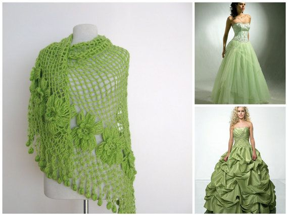 Green mohair shawl with flower design-hand crochet-wedding bridal bridesmaid - ready to ship St Patricks Day, $78