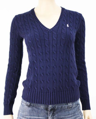 Polo Ralph Lauren Sport Women's Navy Blue V-Neck Cable Knit ...