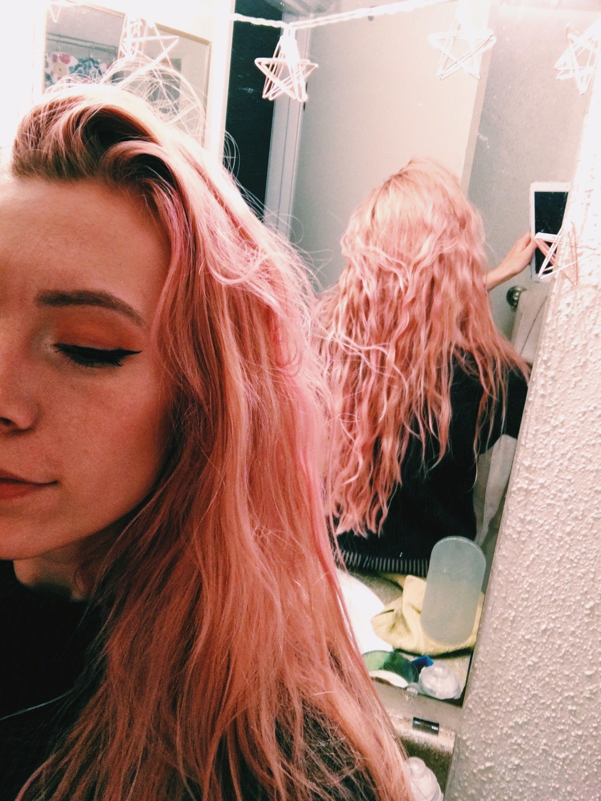 Pastel Pink Hair With Splat Peach Fuzz Mermaid Pinkhair Rosegoldhair Mermaidhair Longhair Pastel Pastelaesthetic Aesth Pastel Pink Hair Hair Pink Hair