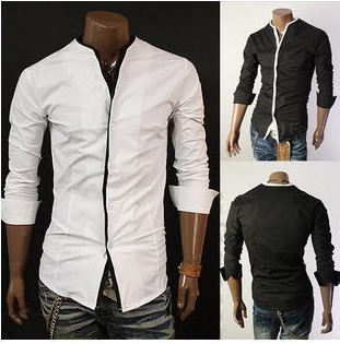 Men's Mandarin Collar Button-Up Shirt | Style | Pinterest ...