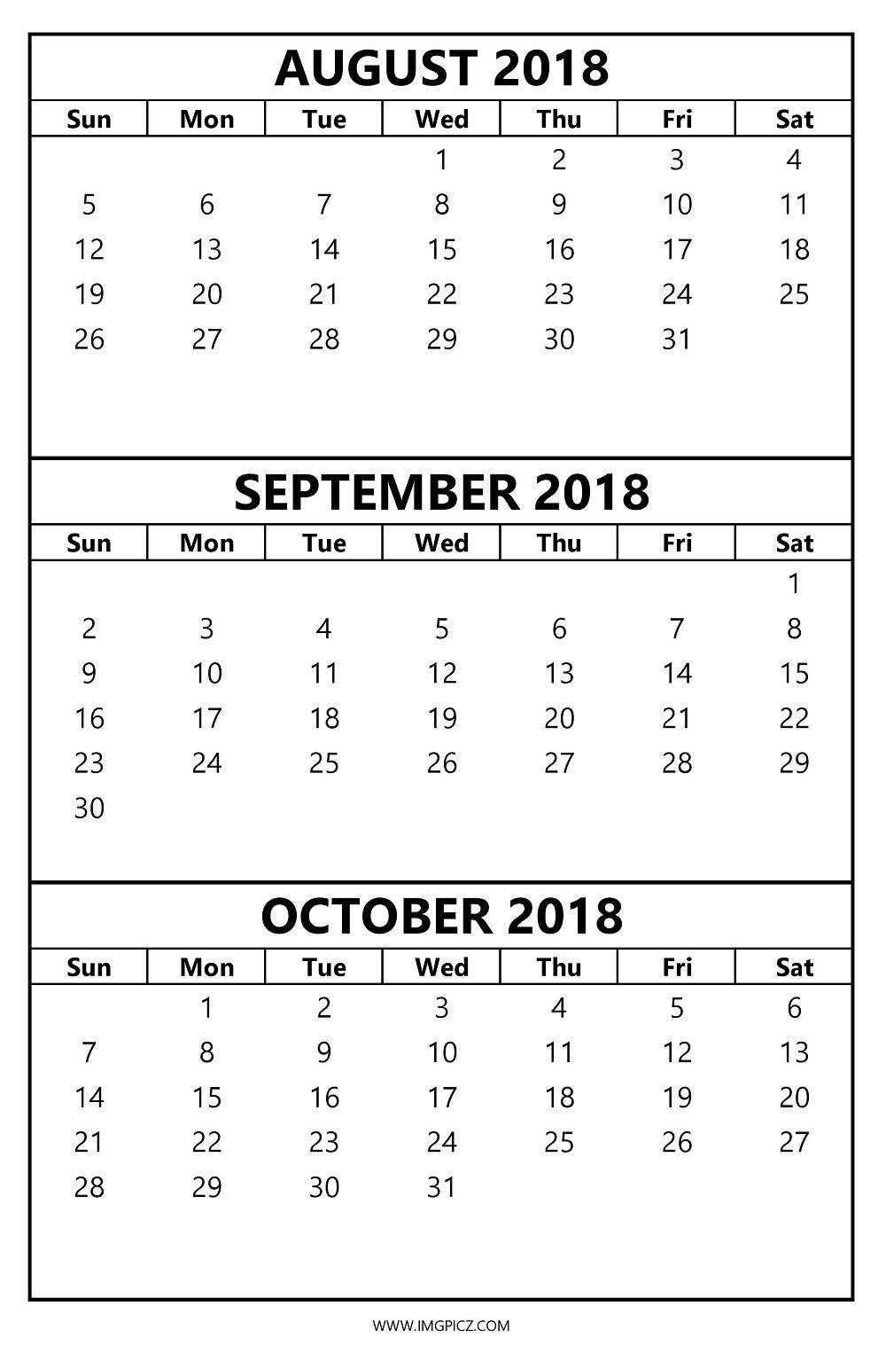 October Calendar 2018 Printable : Calendar august september october printable template