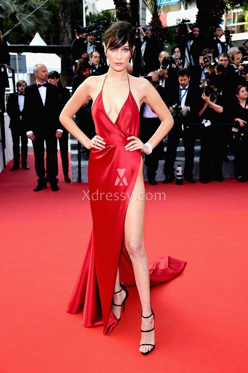 Bella hadid sexy high slit plunging vneck halter red prom dress