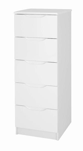 Alpine 5 Drawer Tall Boy Chest In High Gloss White
