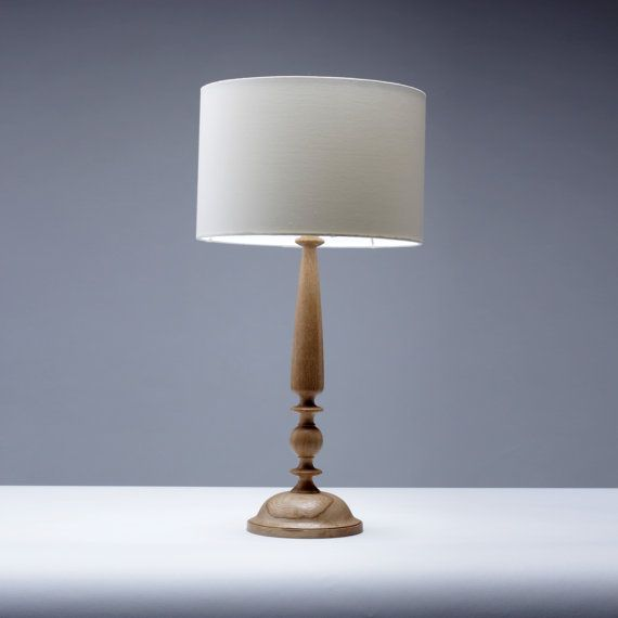 Oak Wood Table Lamp Candlestick Design 61cm Traditional