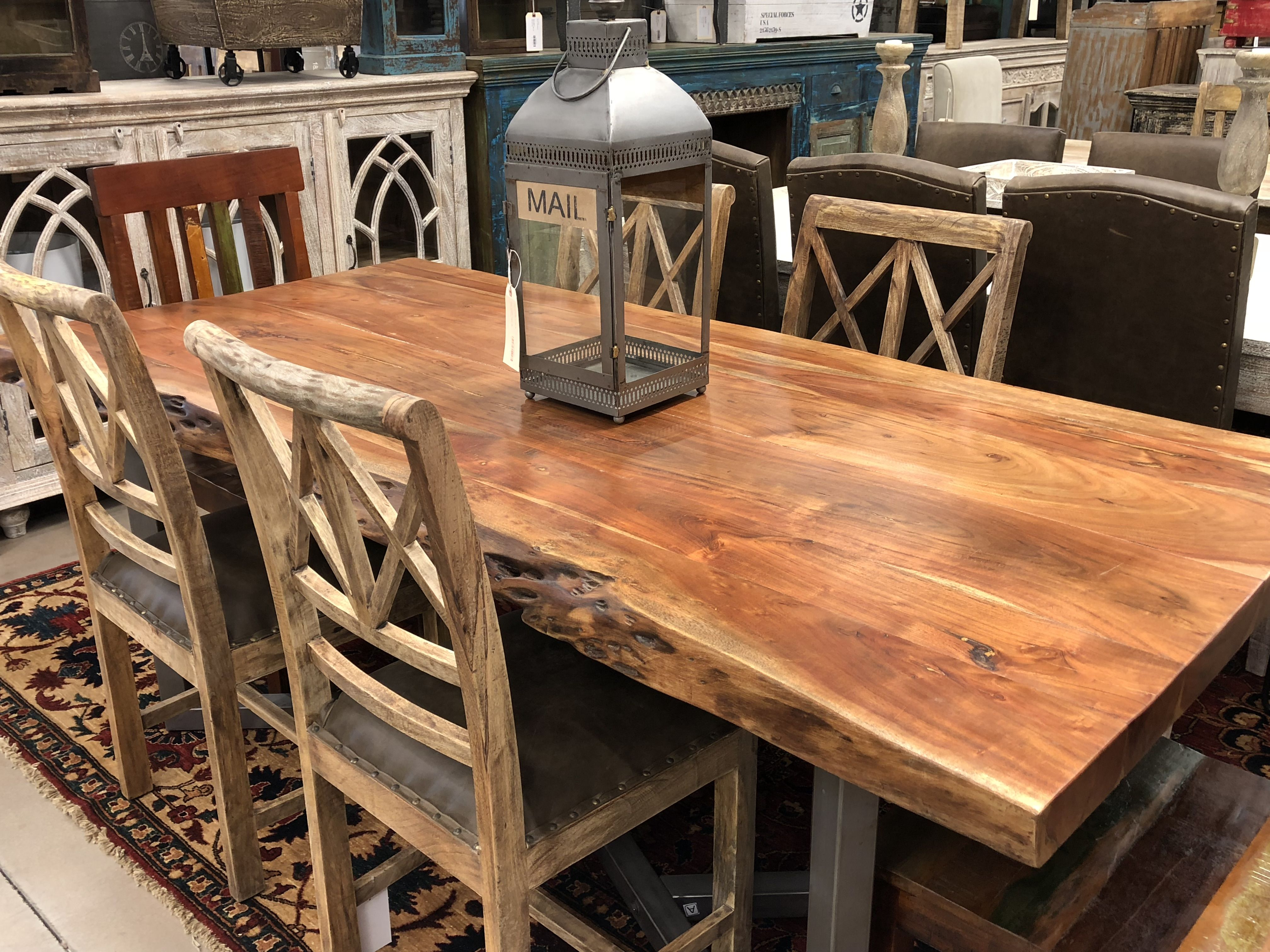 Wdn Iron Dinning Table Live Edge Table Dining Rooms Live Edge