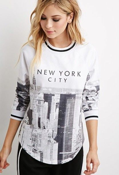 Wheretoget - White sweatshirt with printed black   white New York City  photo paired with black sweatpants 41eeede3219