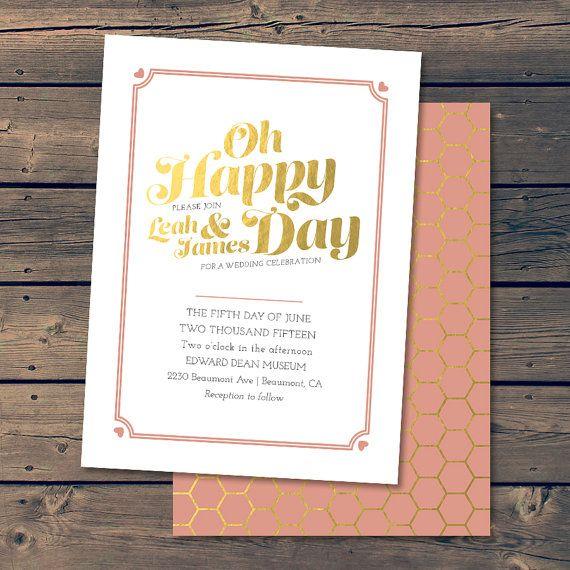 Golden Day / Wedding Invitation by PixelPaperStationery on Etsy