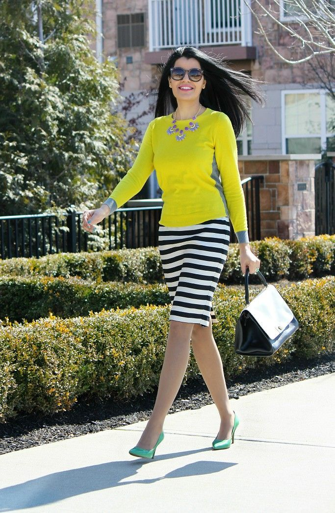 5ca984d42fb8 Spring Outfit Ideas, JCPenney Pencil Skirt, Black & White Stripes Pencil  Skirt, Nautical Stripes, Spring Outfits