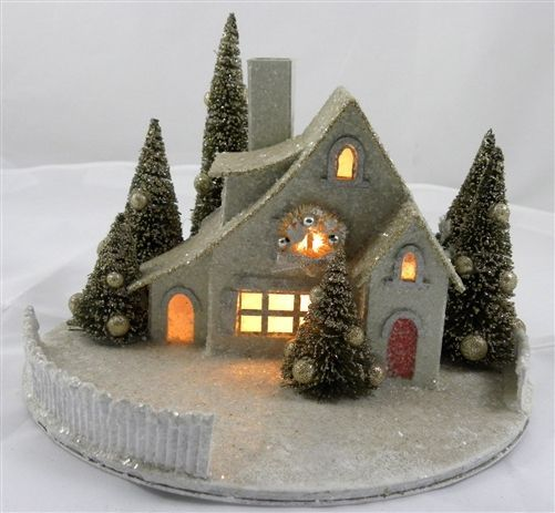 new 6 5 kd vintage champagne christmas lighted glitter cottage house w fence - Mini Christmas Village Houses