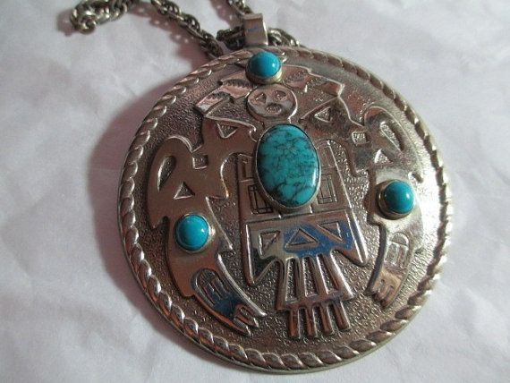 Faux Turquoise Large Pendant Necklace South Western Kachina Nickel Silver Bell
