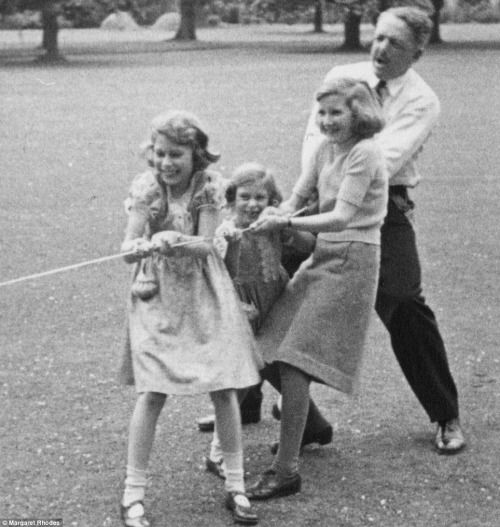 Princess Elizabeth, Princess Margaret and their cousin Margaret Rhodes learning the ropes.