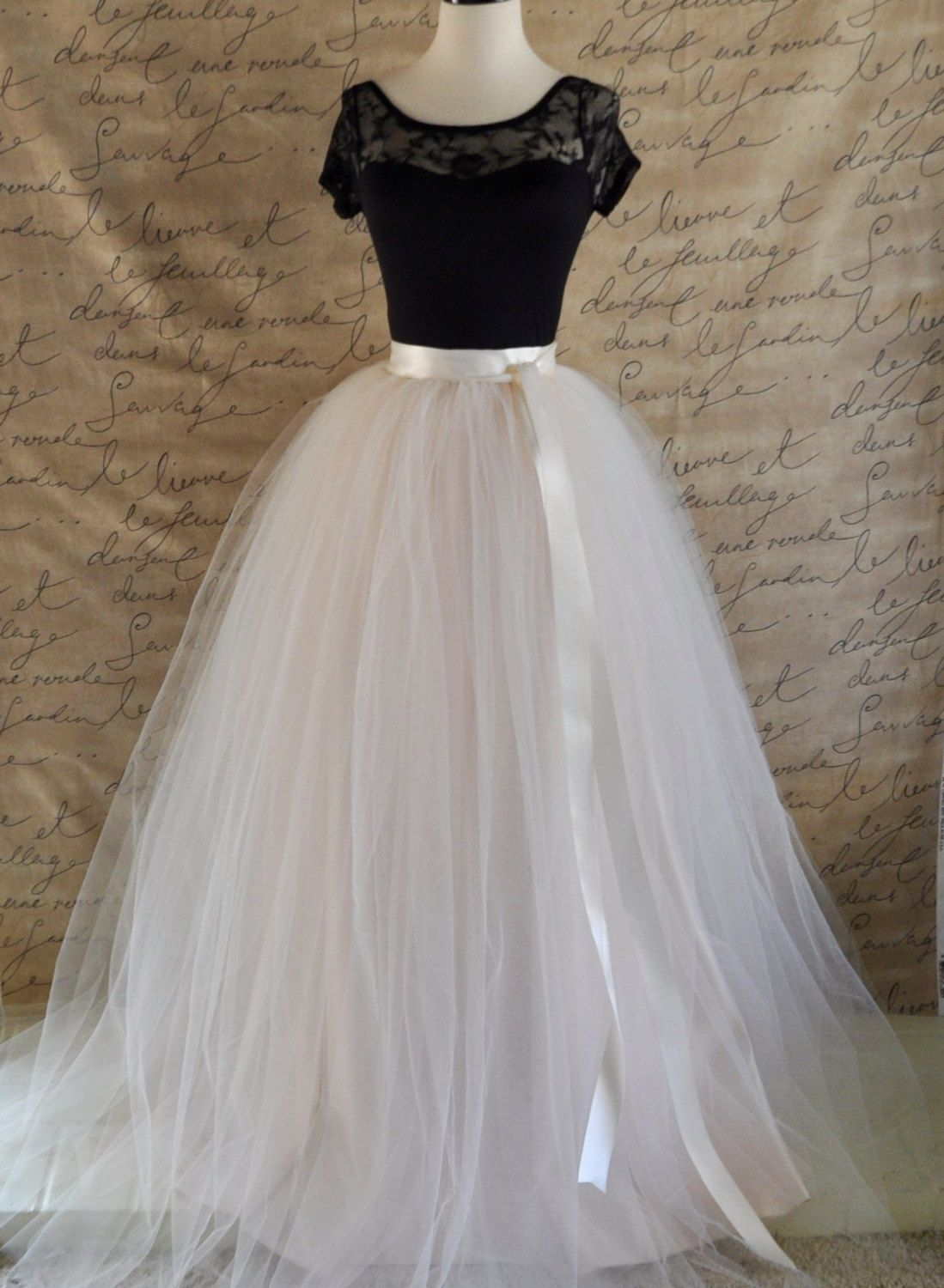 8ee0b4f6ff Womens full length maxi tulle skirt. Ivory and palest blush pink tulle  lined in ivory satin Wedding tutu High waisted skirt Long tulle skirt by ...