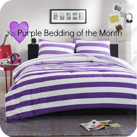 Purple And White Stripes Bedding Set Purple Green Bedrooms