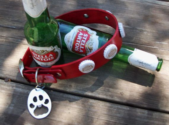 1b727d71272 Stella Artois Beer Cap Leather dog collar with by StickDogLeather ...