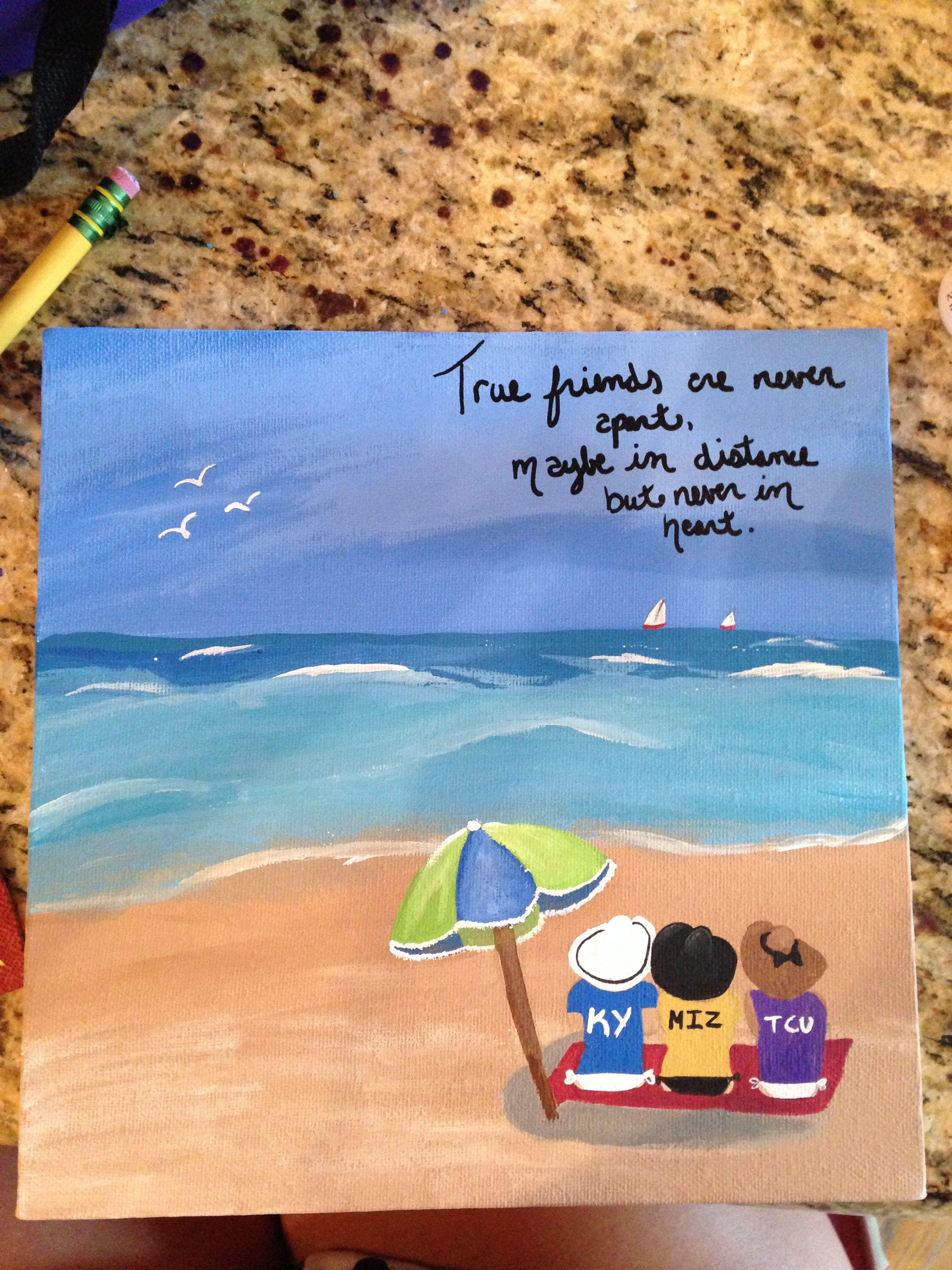 Best friend birthday gift acrylic paint on canvas