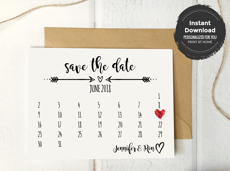 Rustic Save The Date Calendar Card Template Save The Date Templates Diy Save The Dates Save The Date Cards