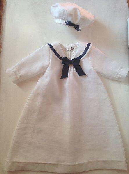 CEDRIC Taufkleid Junge Mädchen Leinen Taufe Marine | Christening gowns