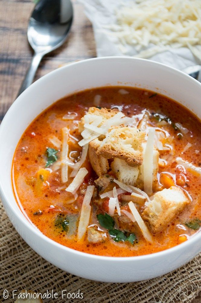 Creamy Sausage  Pepper Soup (with Garlic Herb Croutons) Recipe