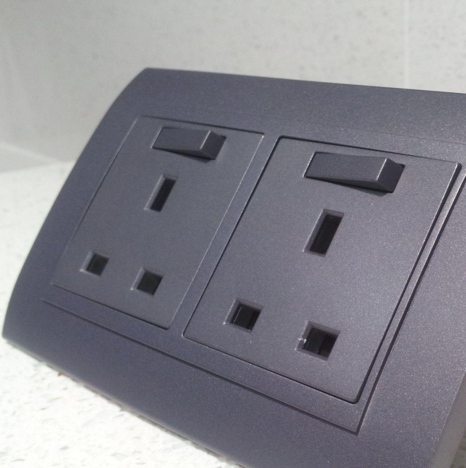 Grey designer wall electric plug #sockets & modern #light #switches ...