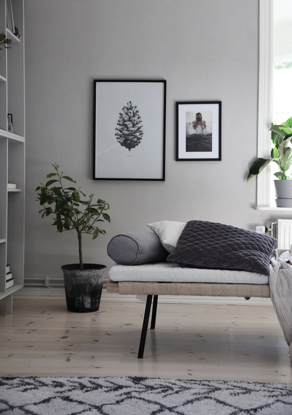 scandinavian living room with black white photos ikea bookshelf hack cool grey. Black Bedroom Furniture Sets. Home Design Ideas