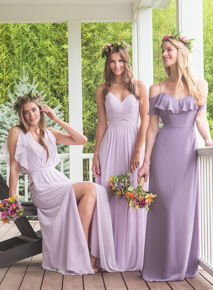 Ladies in lavender and wisteria bari jay bridesmaids for Spring wedding bridesmaid dress colors