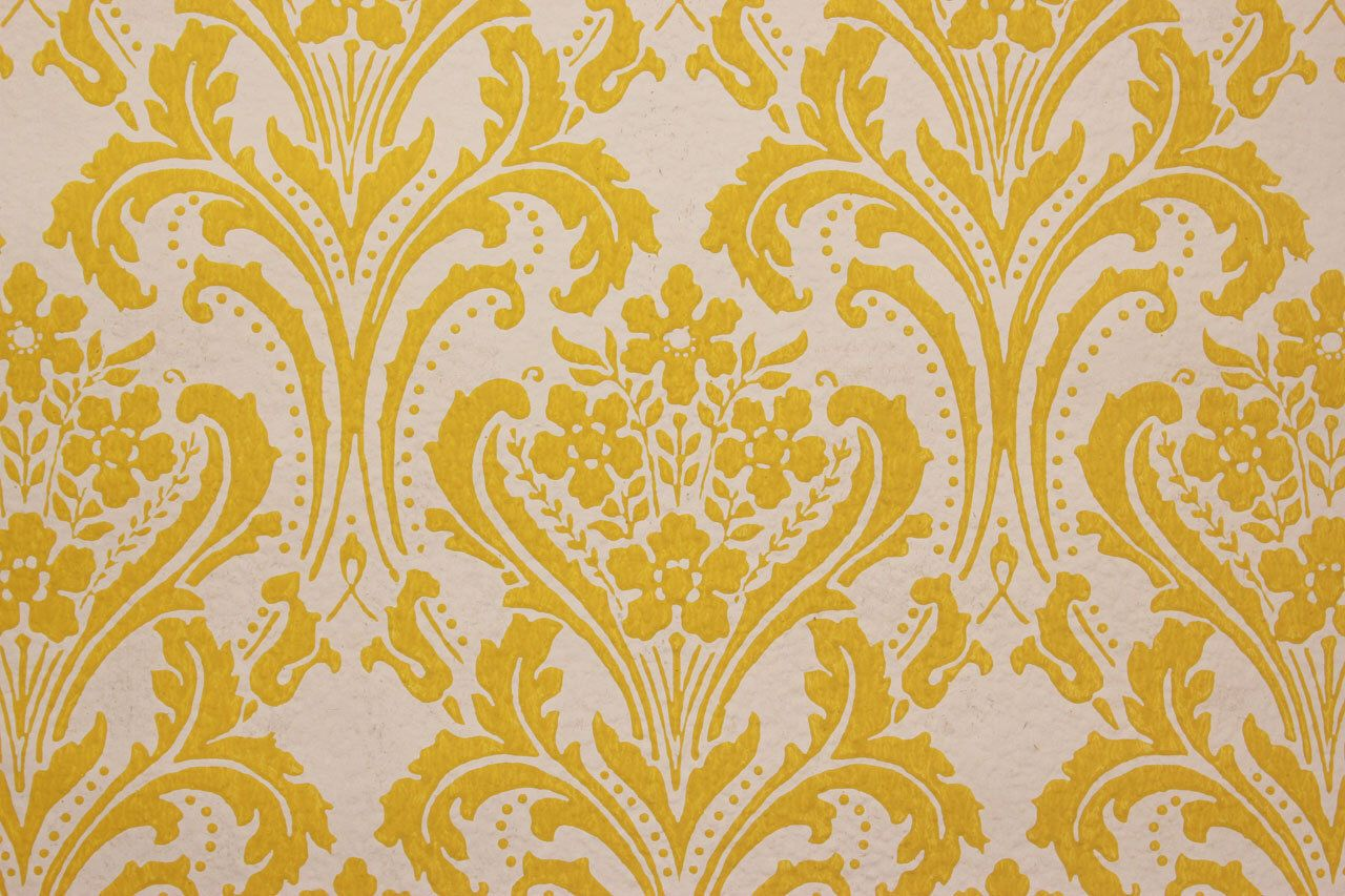 1960's Vintage Wallpaper Yellow Damask on White by
