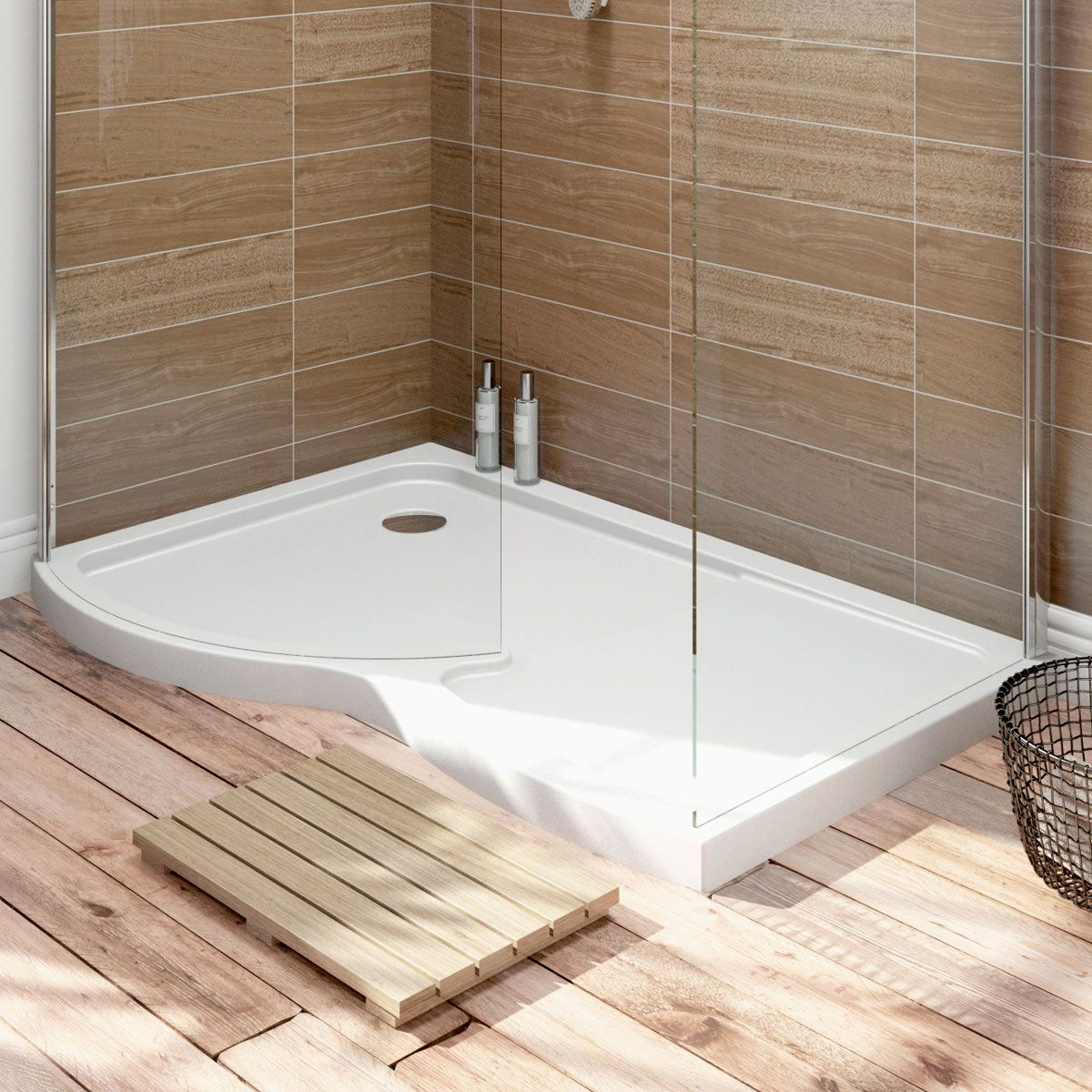 6mm curved left handed walk in shower enclosure with tray 1400 x 900 ...