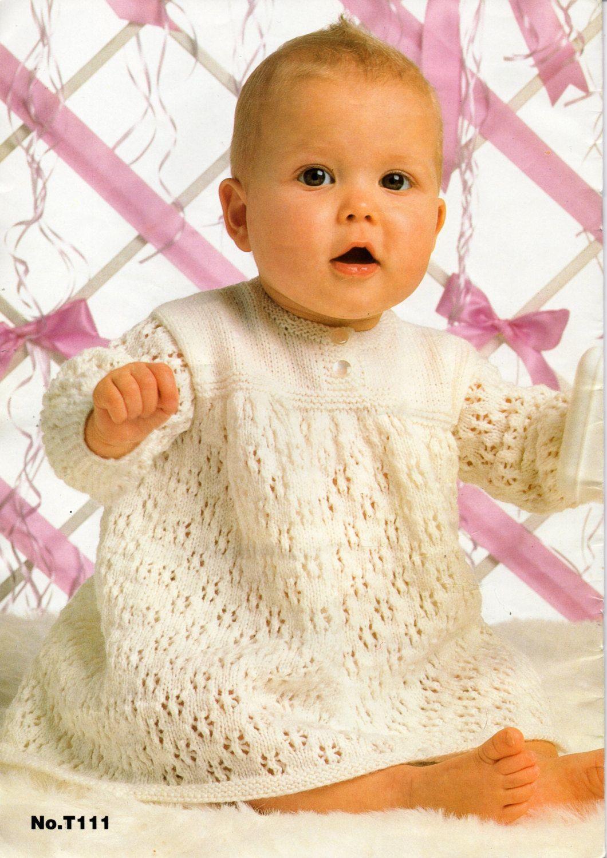 BABY CROCHET MATINEE COAT DRESS /& 2 BONNETS CROCHET PATTERN 18//20 INCH 1168