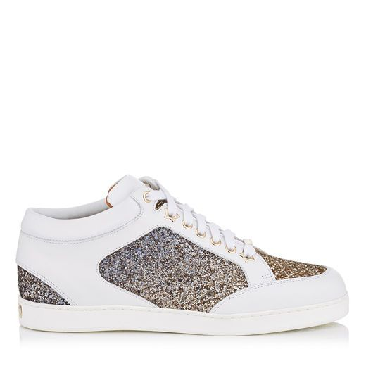 90e0af6499fef3 JIMMY CHOO Miami Antique Gold And Anthracite Mix Coarse Glitter Dégradé  Sneakers.  jimmychoo  shoes  s