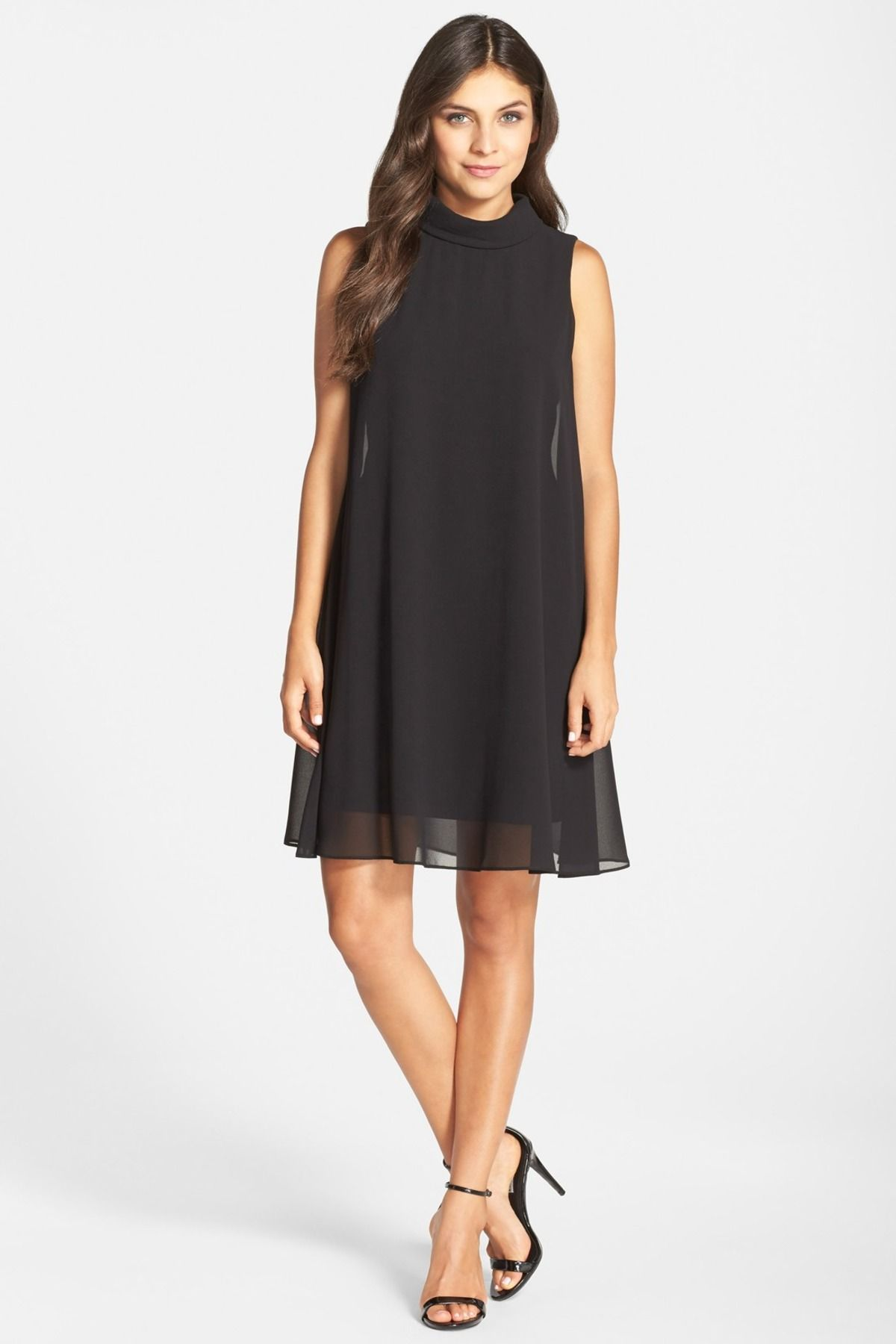 Mock Neck Chiffon Dress