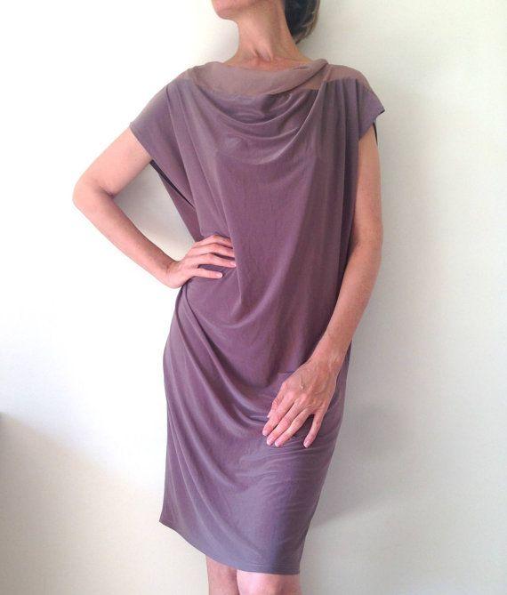 plus size dress, fuller figure dress, cowl neck dress, taupe dress
