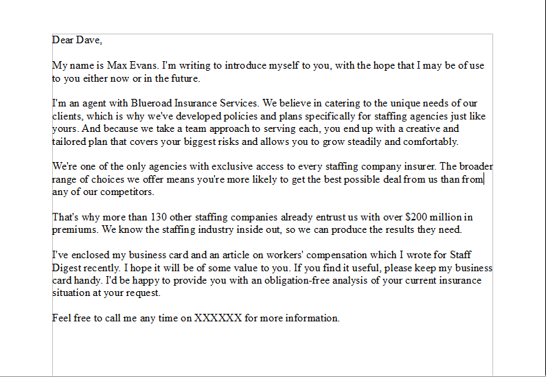 sales prospecting letter for a sales person that is writing their