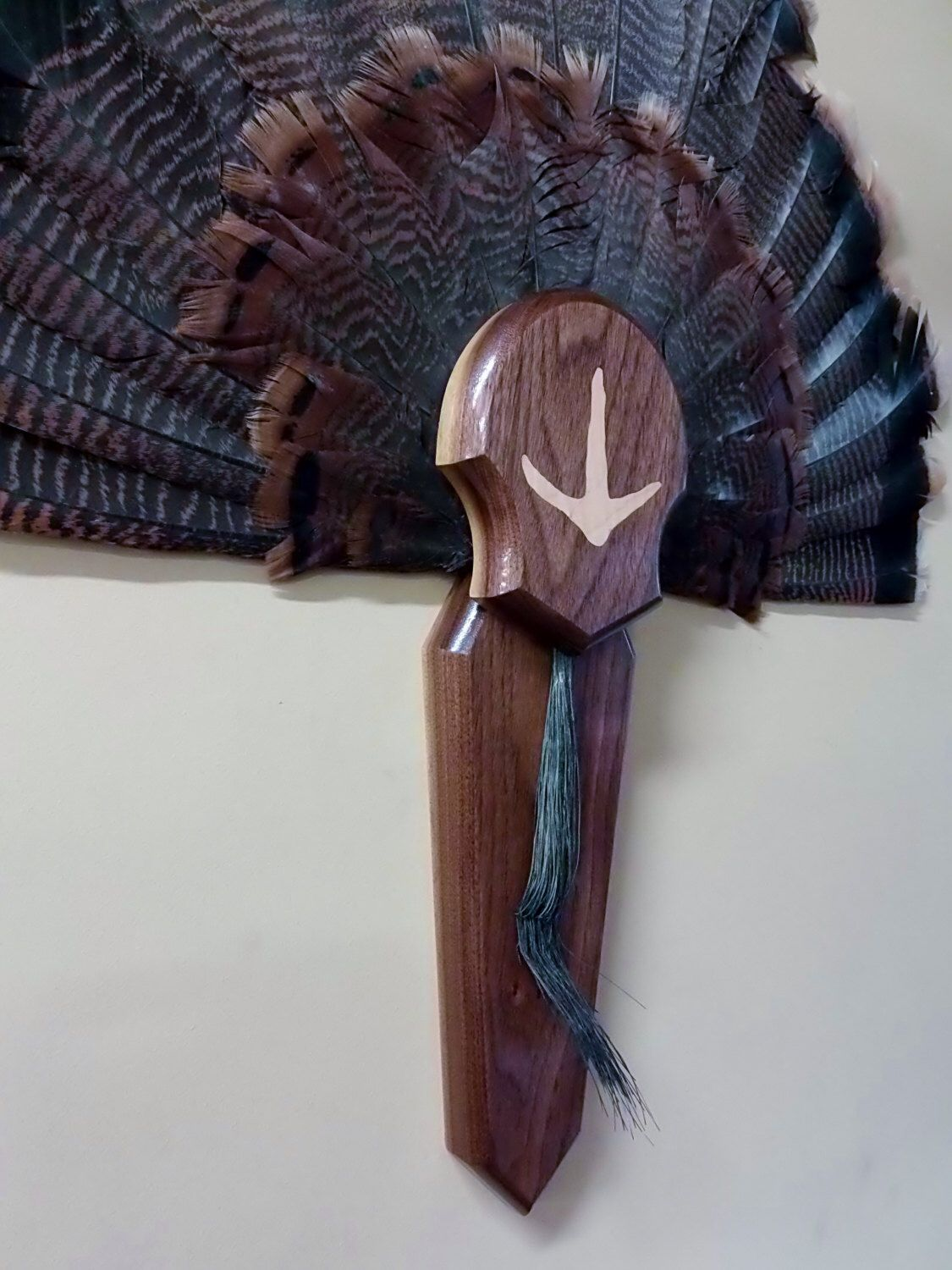 Turkey Fan And Beard Mount Display Taxidermy Walnut Plaque With