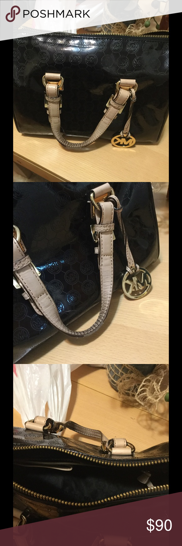 Michael  kors Grayson bag Michael Kors Grayson black bag with biege bucked sraps , it wear on the straps, inside and outside is clean no smell, in good condition.         Measurements: 12 x 10  x 51/2 Michael Kors Bags Satchels