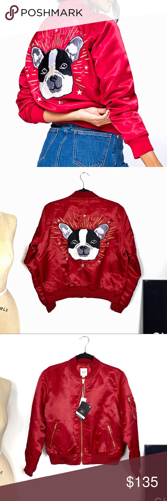Nwt Gap Embroidered Dog Red Satin Bomber Jacket Gap Women S Embroidered Satin Bomber Jacket Smooth Satin Weave Satin Bomber Jacket Clothes Design Bomber Jacket [ 1740 x 580 Pixel ]