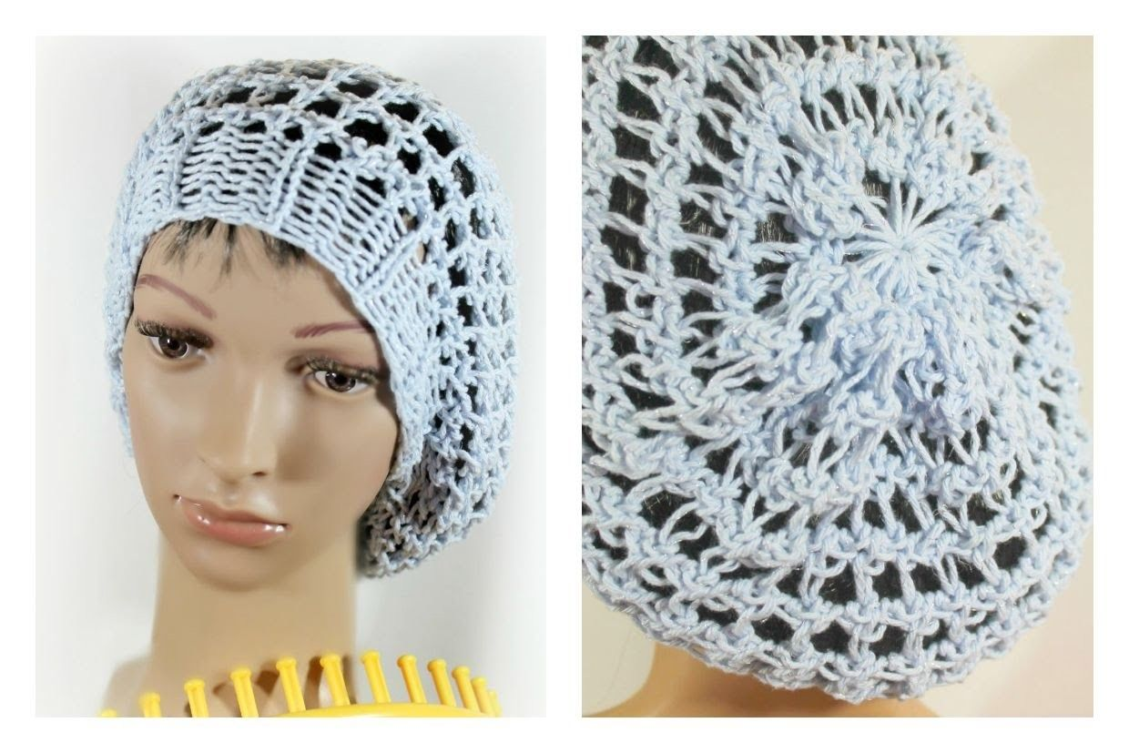 LOOM KNIT HAT Three Step Stitch Slouchy Beanie Snood Hat on any Extra Large  Knitting Loom a142ccf3898