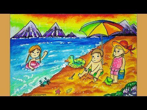 Cara Menggambar Dan Mewarnai Pemandangan Alam Pantai Dengan