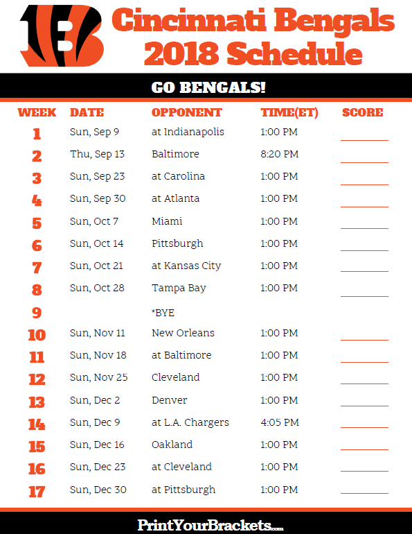 photograph relating to Atlanta Braves Tv Schedule Printable named Printable 2018 Cincinnati Bengals Soccer Agenda