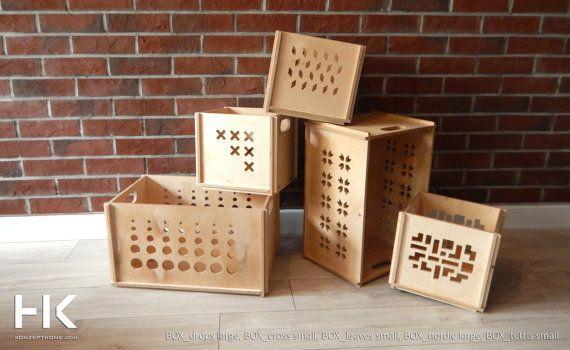 Storage Box Plywood Case Modern Decor Box for by KonzeptHome