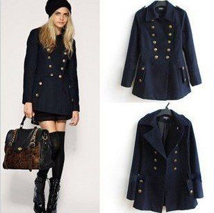 Brand New Ladies' Trench Double-breasted Coat Woolen Military ...