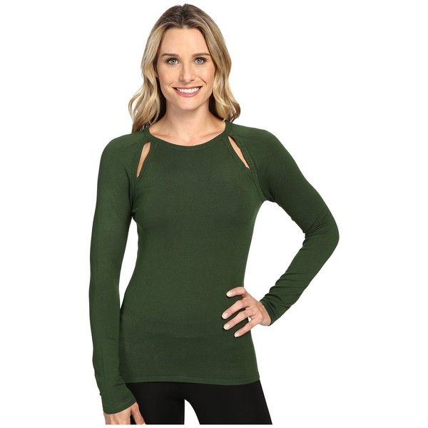 MICHAEL Michael Kors Long Sleeve Slit Raglan Sweater (Moss) Women's... ($62) ❤ liked on Polyvore featuring tops, sweaters, long sweaters, ribbed sweater, form fitting sweaters, long sleeve tops and green sweater