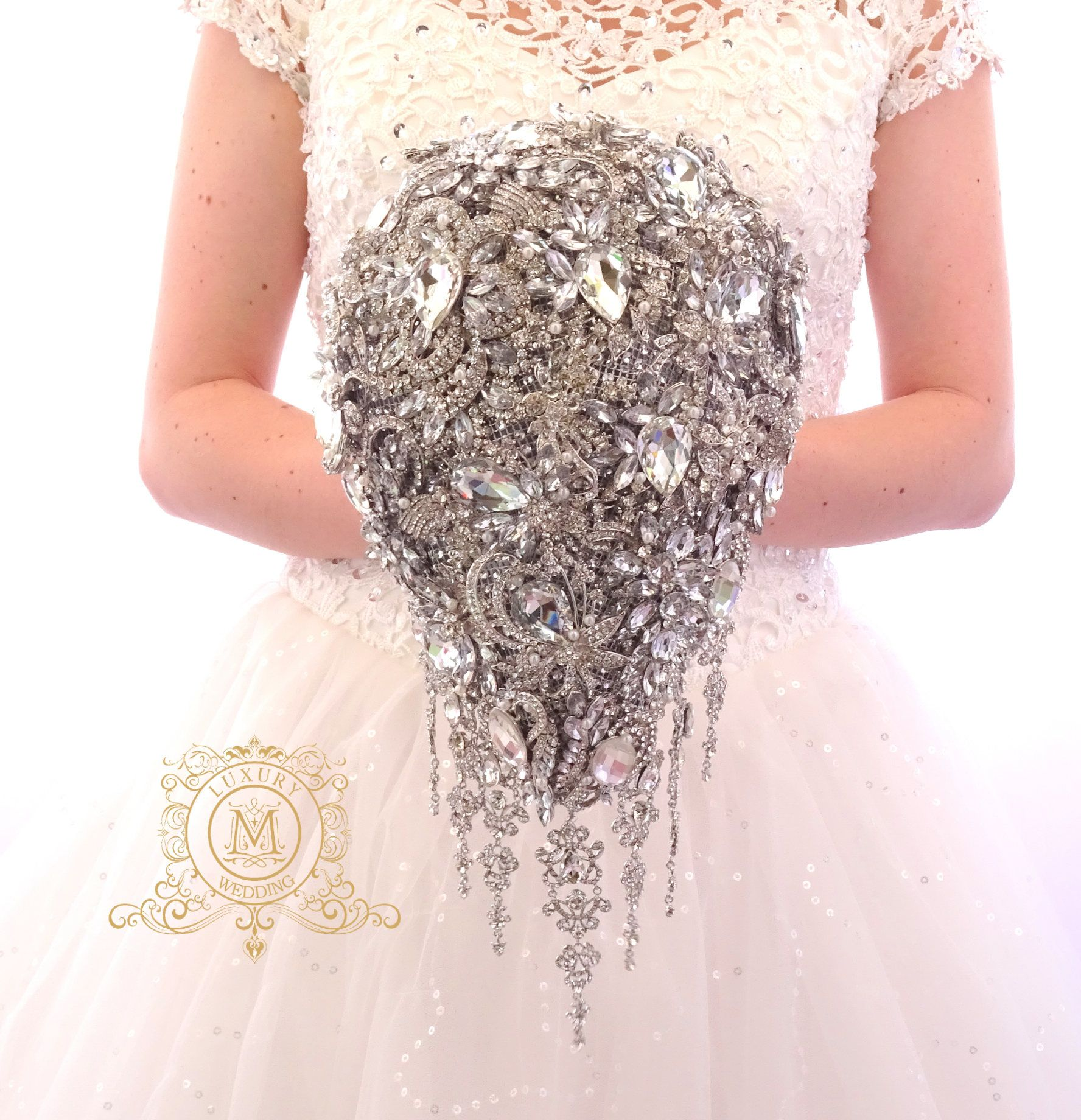 Wedding bouquets teardrop  BROOCH BOUQUET unique cascading silver teardrop by MemoryWedding