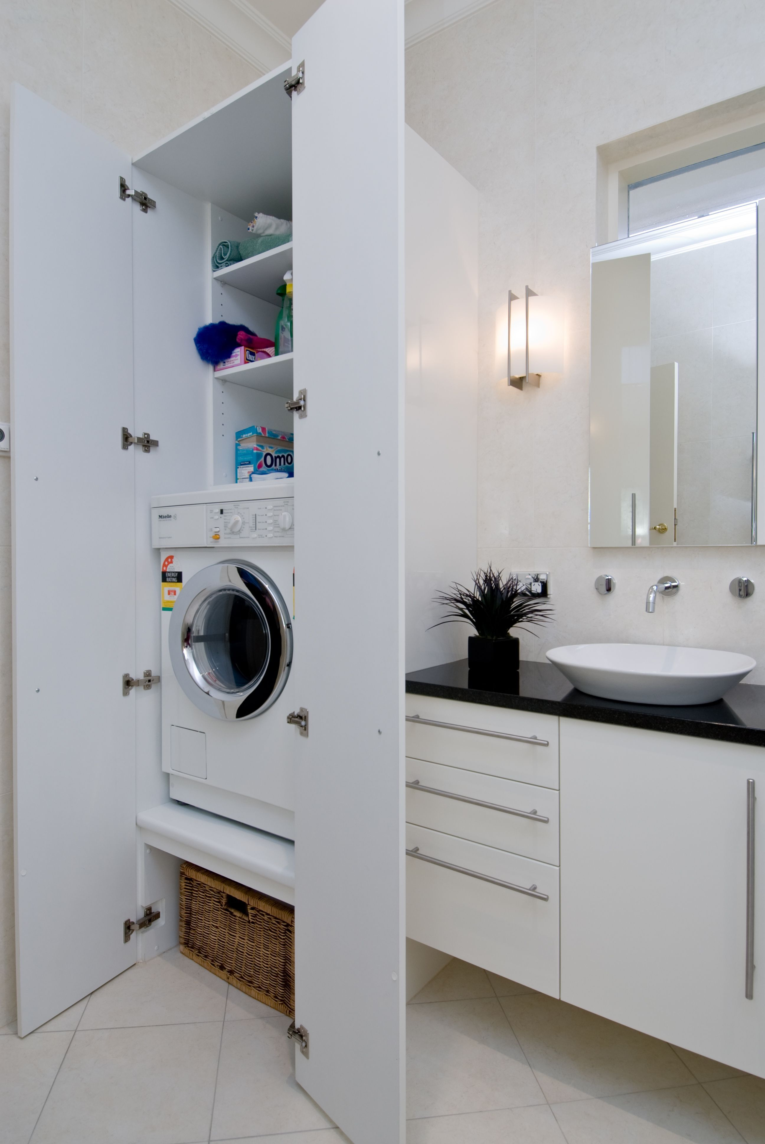 Stacked Washer And Dryer And Small Shower Bathroom Design Small Small Laundry Rooms House Bathroom