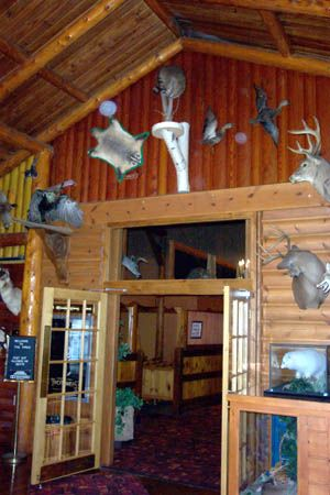 Lobby Of The Pines Theater In Houghton Lake, Michigan, Built In It Has A  Rustic Log And Field Stone Interior, Accented With A Collection Of Mounted  Michigan ...