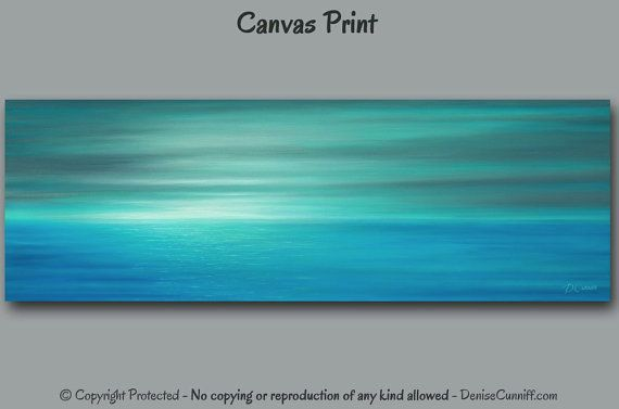 Teal Panoramic Painting Ocean Sunrise Canvas Art Print Gray Etsy Seascape Wall Art Blue Abstract Painting Blue Wall Art