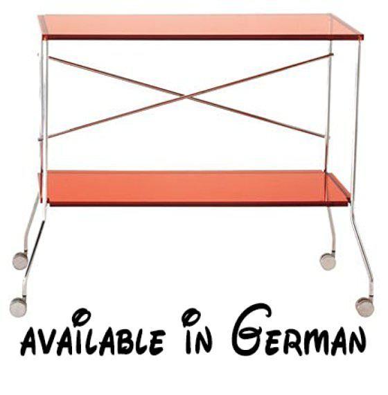 B004UL43R6  Kartell 4465E3 Beistellwagen Flip transparent rot - wohnzimmer rot orange