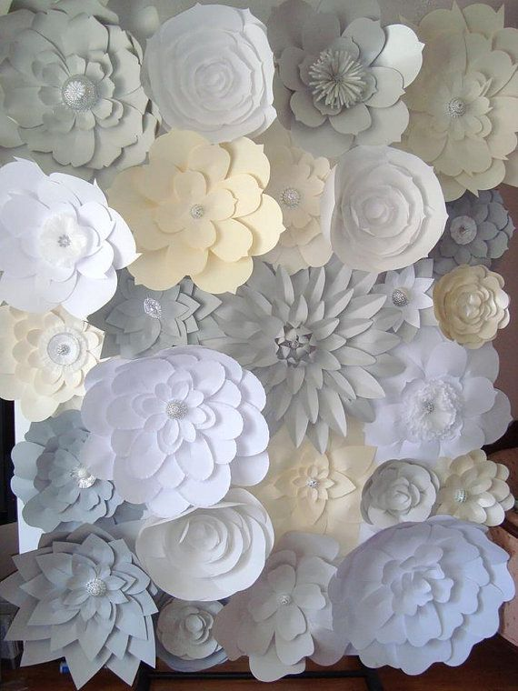 Diy paper flower backdrop ivory grey white handmade paper diy paper flower backdrop ivory grey white by dreameventsinpaper mightylinksfo