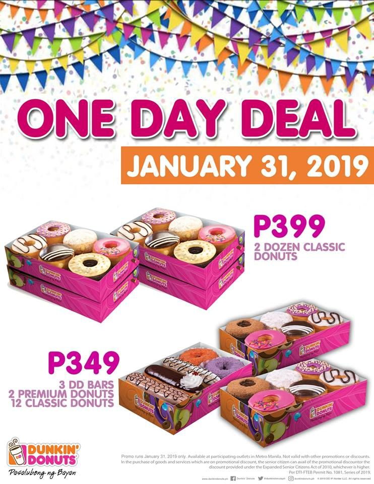 Dunkin Donuts One Day Deals January 31 2019 Only Proud Kuripot Dunkin Dunkin Donuts Donuts